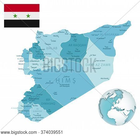Syria Administrative Blue-green Map With Country Flag And Location On A Globe.
