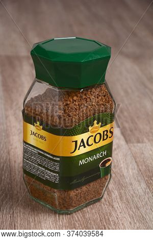 Coffee Jacobs Monarch. Jacobs Monarch Granulated Instant Coffee. Kharkiv, Ukraine, June 21, 2020.