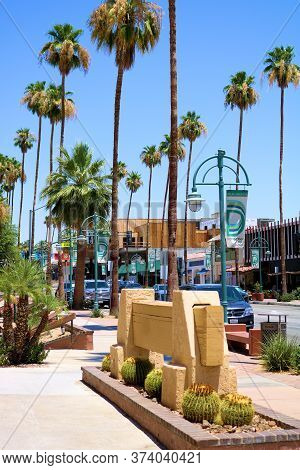 June 22, 2020 In Palm Springs, Ca:  Downtown Main Street Surrounded By Palm Trees As Well As Retail