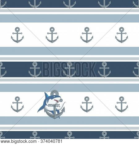 Shark. Anchor Pattern. Vector Background With A Shark. Design For Textiles, Packaging Materials, Bac