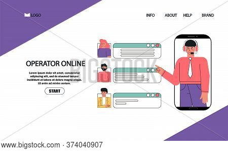 Flat Style Vector Illustration, Customer And Operator Help Online Customer Service, Male Hotline Ope