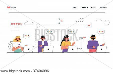 Group People Operator With Headphones And Microphone With Laptop. Concept Vector Illustration For Ch