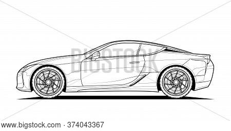 Adult Coloring Page For Book And Drawing. Car Vector Line Art Illustration. High Speed Drive Vehicle