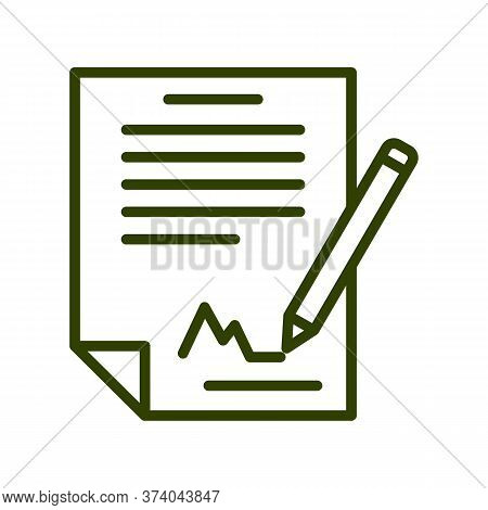 Black Line Icon For Signing-the-contract Agreement Signature Treaty Annexure Bond Restriction Append