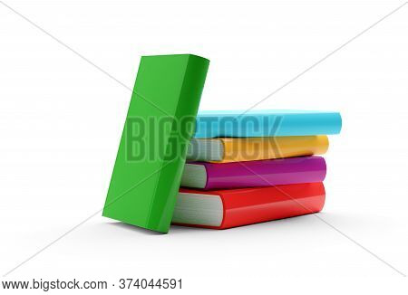 Multi Colored Hardcover Books With Blank Covers Stacked Over White Background With One Book Leaning