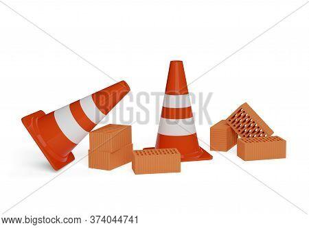 Orange Traffic Warning Cones Or Pylons With Stone Bricks On White Background - Under Construction, M
