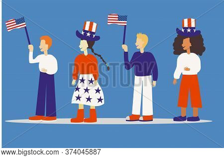 Illustration Of A Group Of People Celebrating 4Th July Independence Day In The Usa