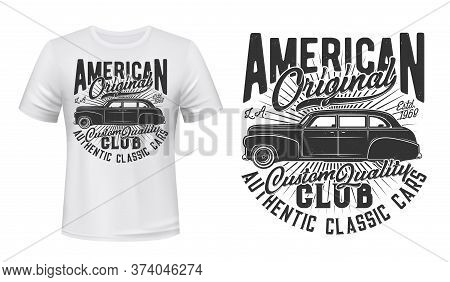 American Old Car T-shirt Print Vector Mockup. Emblem With Vintage, Black Sedan, Retro Limousine And