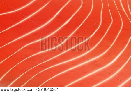 Salmon Or Trout Fish Meat Fillet Texture Background. Vector Fillet Texture With White Streaks, Reali