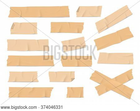 Adhesive, Duct Or Insulating Tape Pieces Realistic Vector Set. Beige Masking Tape Crumpled Stripes W