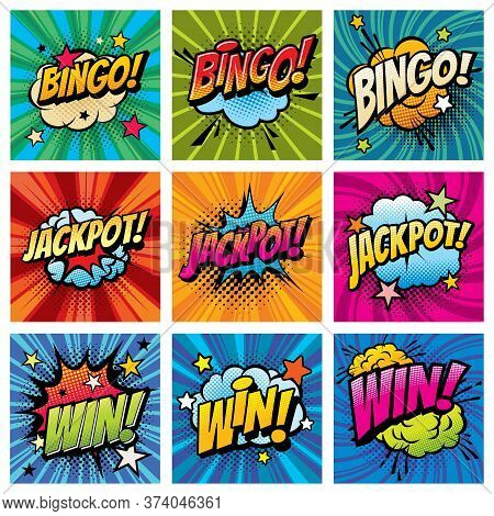 Bingo And Win Comic Bubbles Vector Set. Happy Whoop After Jackpot, Gambling Game Win Or Reaching Ach