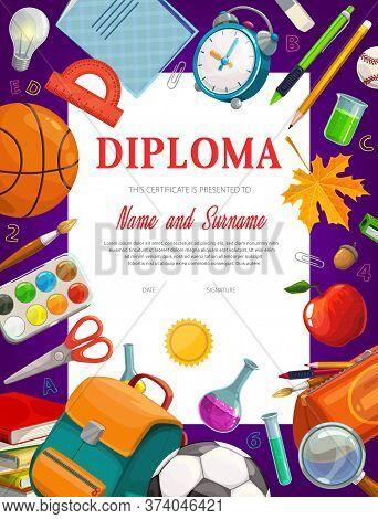Kids Education Diploma Certificate Vector Template. School And Preschool Kid Graduate Certificate. C
