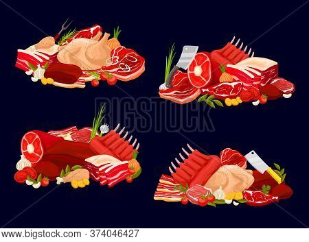Meat Types Vector Veal And Beef, Pork, Chicken And Mutton. Raw Meat Assortment For Butcher Shop. Bee