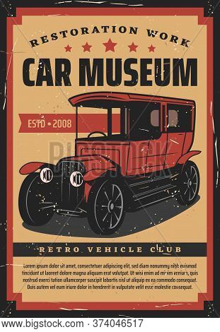 Retro Cars Museum Vector Design. Vintage Vehicles Club And Garage Station, Old Classic Cars Exhibiti