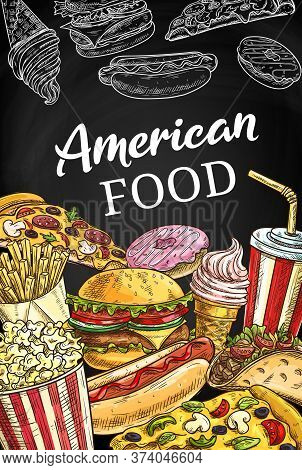 American Fastfood Poster, Sketch Takeaway Fast Food Vector Burger, Hot Dog, Pizza And Soda Drink. Fr