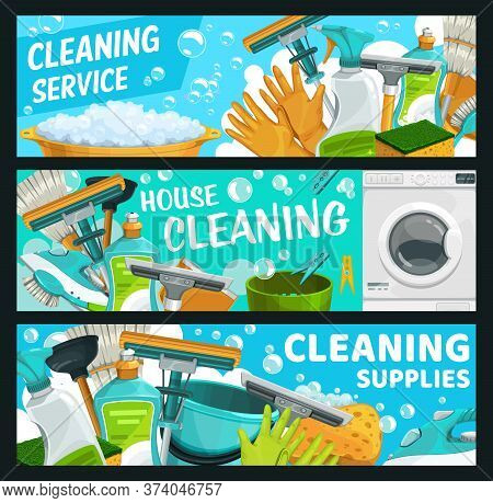Cleaning Service, Laundry And Hygiene Vector Banners. Rubber Gloves And Window Squeegee, Mop And Bro