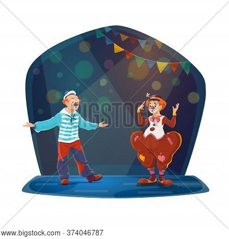 Big Top Circus Clowns Characters Performing On Stage. Two Clowns With False Noses, Wearing Sailor An