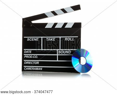 Single, Black, Open Movie Clapper Or Clapper-board With Dvd Movie Disc On White Background - Digital
