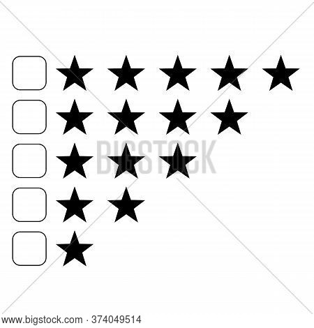 Review Stars Icon On White Background. Five Stars Review Sign. Business Concepts. Rating Star Symbol