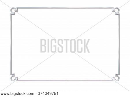 Rectangle Realistic Frame Metal Or Silver With Round Corner Elements. Slender On White Background. S