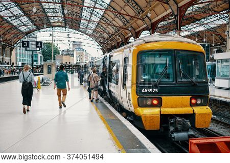 LONDON,UK - JULY 27,2019 : Train at Victoria Station, one of the largest railway syations in London