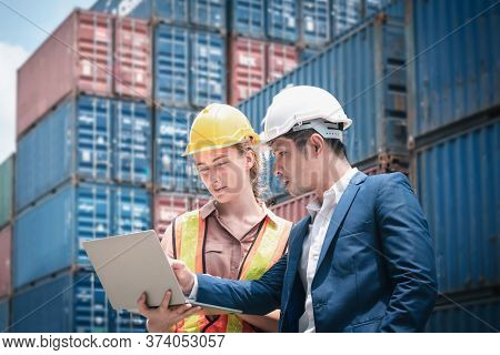 Container Shipping Logistics Engineering Of Import/export Transportation Industry, Transport Enginee