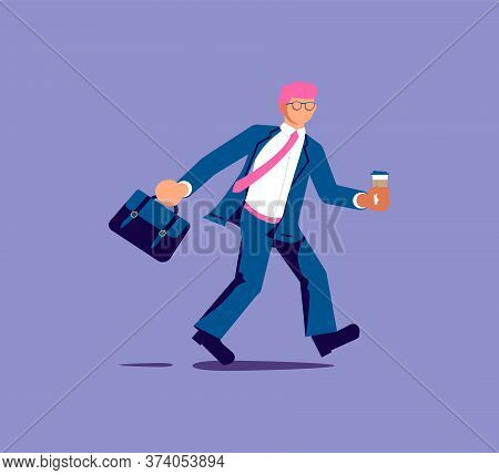 Handsome Man In A Business Suit With Offee To Go, Office Worker Holds In Hand A Hot Beverage. Isolat