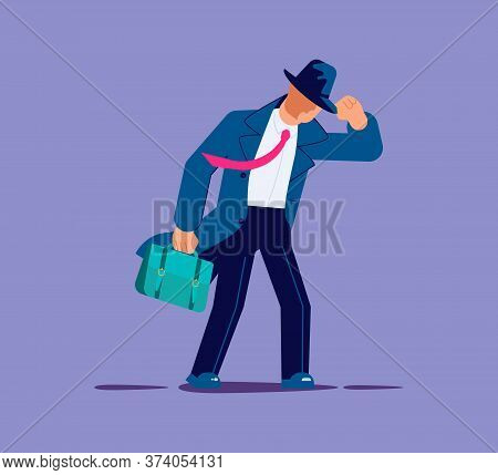 Stormy Weather Or Barriers In Business And Difficulty Moving Forward Metaphor. Businessman Resisting