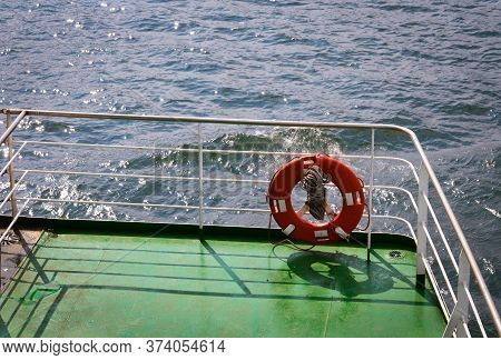 Lifebuoy Ring On Shipboard. Safety, Rescue, Life Preserver