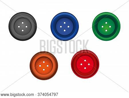 Set Of Multi-colored Sewing Button For Clothes. Stud Icon. Vector Illustration