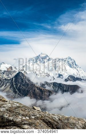 Scenery View Of Mount Everest (8,848 M) The Highest Mountains In The World View From The Top Of Renj