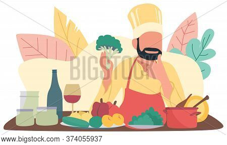 Freshest Possible Ingredients. Chef Use Fresh Organic Vegetables For Dish. Vegetarian Meal. Organic