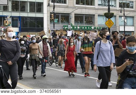 New York, New York/usa - June 2, 2020: People March On Union Square To Protest The Murder Of George