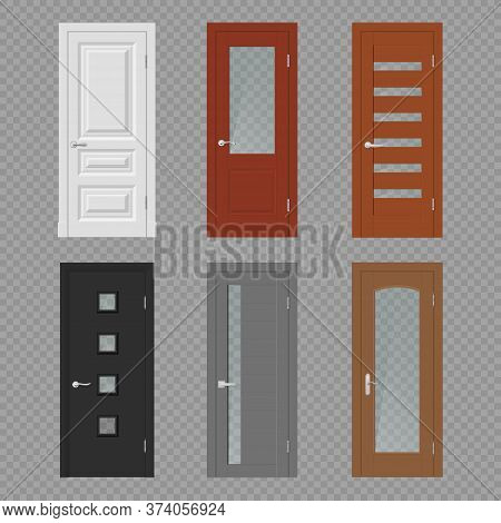 Interior Door, Room Doorway And Entrance Realistic Vector Mockups. Wood Doors On Transparent Backgro