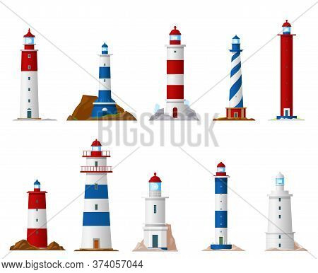 Sea Lighthouse Isolated Vector Icons Of Nautical Navigation Design. Beacon Tower Building With Guid