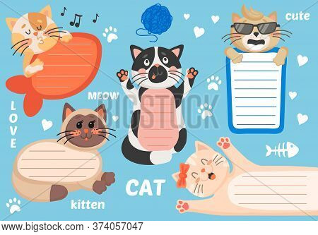 Kids Text Frame Vector Template With Background Of Cute Cartoon Cats. Paper Notes, Notepad Or Notebo