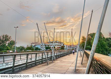 Larissa, Thessaly, Greece - May 22th, 2018: View Of The Sidewalk Of The Pinios Bridge On The Grigori