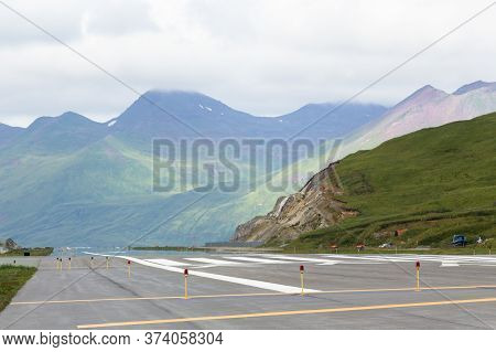 Dutch Harbor, Unalaska, Alaska, Usa - August 14th, 2017: View Of The Runway Of The Tom Masden Airpor