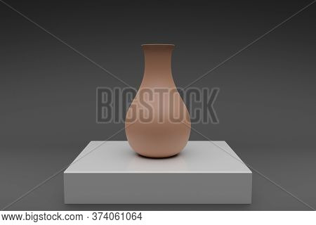 3d Illustration Of A Brown Clay Vase On A White Table. Model Of A Classic Flower Vase