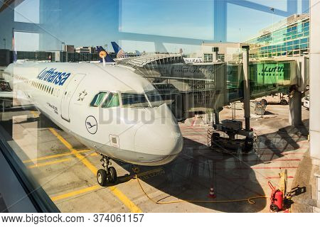 Frankfurt, Germany - July 3th, 2018: An Airbus A321 Stade Of Lufthansa Airline Parked At A Jet Bridg