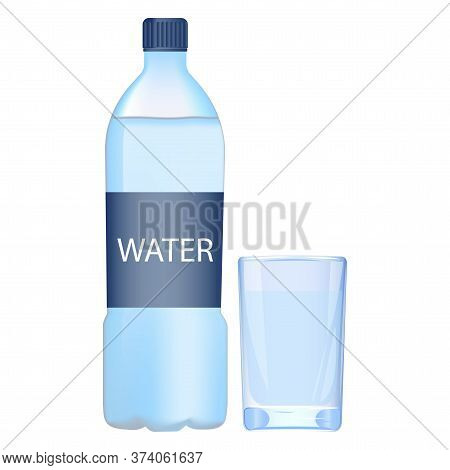 Water In A Plastic Bottle. Vector Flat Icon Of Capacity With Liquid And Glass. Dishes With Mineral S