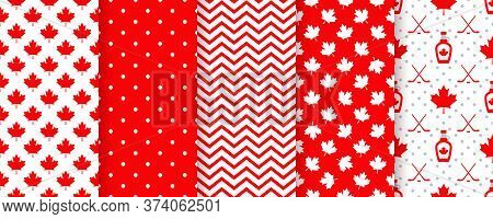 Canada Seamless Pattern. Vector. Happy Canada Day Textures With Maple Leaf, Syrup, Polka Dots, Zig Z