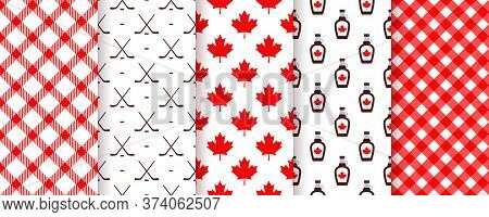 Canada Seamless Pattern. Vector. Happy Canada Day Textures. Backgrounds With Maple Leaf, Hockey Stic