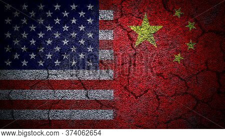 3d Rendering Of Dual Us And China Flags Painted On Concrete Wall In Grunge Effect With Deep Cracks T