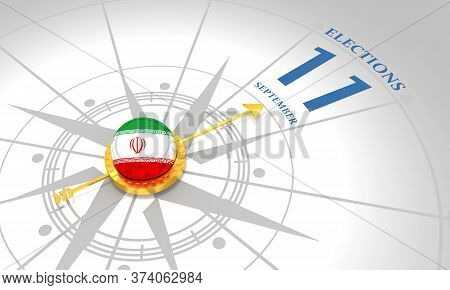 Voting Concept. Iran Elections. 3d Rendering. Abstract Compass Points To The Elections Date