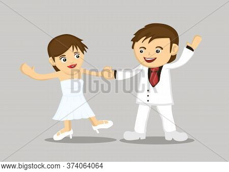 Happy Newlywed Couple Dancing Together. Flat Cartoon Character Vector Illustration Isolated.