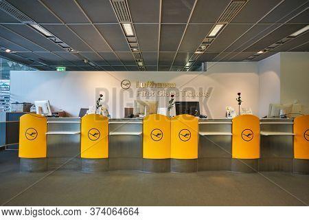 FRANKFURT AM MAIN, GERMANY - CIRCA JANUARY, 2020: Lufthansa first class tickets counters as seen at Frankfurt am Main Airport.