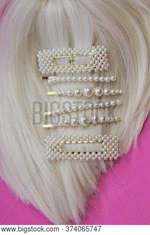 Pearl Hair Accessories. Hair Clips . Fashionable Hair Accessories. Hairpin With Pearls On A Bright P