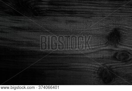 Grunge Dark Wood Plank Texture Background. Vintage Black Wooden Board Wall Antique Cracking Old Styl