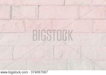 Empty Background Of Wide Pink Brick Wall Texture. White Brick Wa